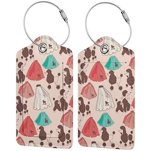 Gepäckanhänger mit Pudel-Rock-Muster, für Koffer, Handgepäck, Ausweishalter mit verstellbaren Riemen für Reisen, Business, 2er-Set