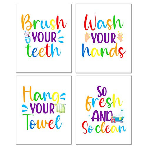 "WHATSIGN Funny Bathroom Quote Art Print, Kids Bathroom Decor,Farmhouse Bathroom Decor,Bathroom Rules Typography,Signs & Rules Decorations ,Set of 4, 8"" x 10"", Unframed"