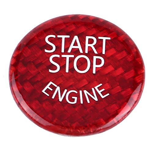 Duokon Couvercle du Bouton de Démarrage/arrêt du Moteur de voiture,Bouton Interrupteur Couverture Pour 1-7 Series X1 X3-X6, fibre de carbone, rouge