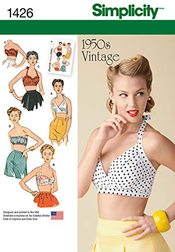 Simplicity 1426 Women's Vintage Fashion 1950's Bra Sewing Pattern, Sizes 4-12