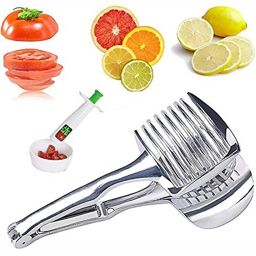 NXM Cortadores De Tomate De Limón De Mano De Acero Inoxidable para Cortar Frutas Y Verduras, Apto para Tomates, Limones, Patatas, Cebollas, Kiwi Lavavajillas