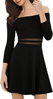 f6526b84d7 Mixfeer Womens Off The Shoulder A-Line Skater Dress Cocktail Party Dress
