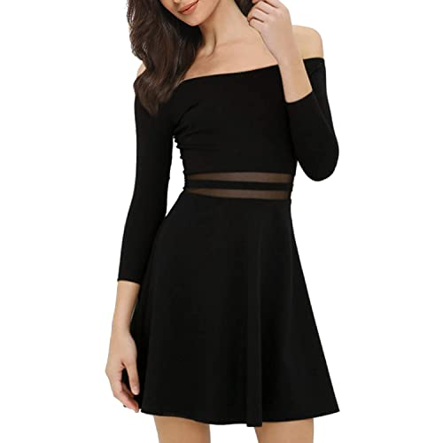 c1f74a2616 Mixfeer Womens Off The Shoulder A-Line Skater Dress Cocktail Party Dress