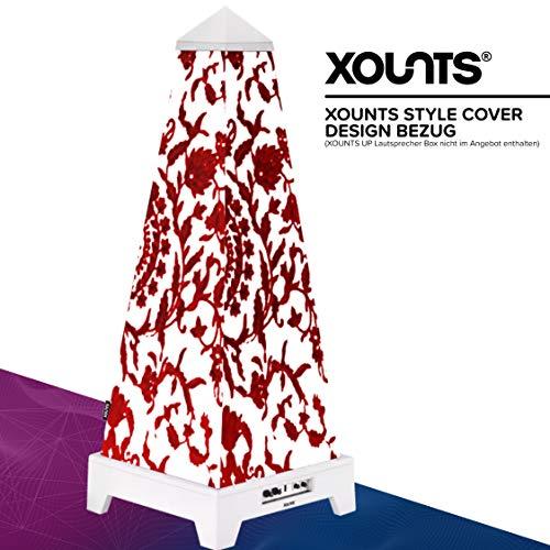 XOUNTS Style Cover 'Red Tendrils' – Premium Flies-Cover für XOUNTS UP Musikanlage – Design-Cover mit roten Blumenranken für einzigartiges Lichtspiel – Als Zubehör für XOUNTS UP Lautsprecher