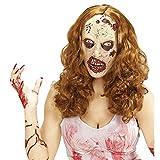 Amakando Antifaz látex Zombie Máscara Muerta Viviente con Peluca Mascarilla de Terror Mujer...