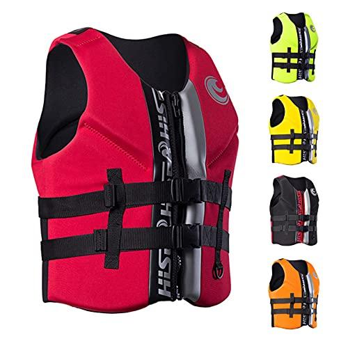 HLYT-0909 Life Jacket - Chaleco salvavidas de neopreno unisex para adultos, para esnórquel, para natación, velero, kayak, rojo, L