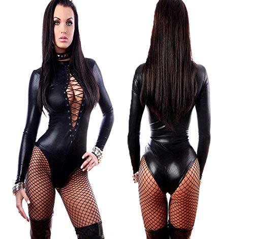 CYGGL Mujeres lencería de cuero negro sexy monos eróticos leotardo disfraces de goma flexible caliente sexy latex catsuit catwomen disfraz