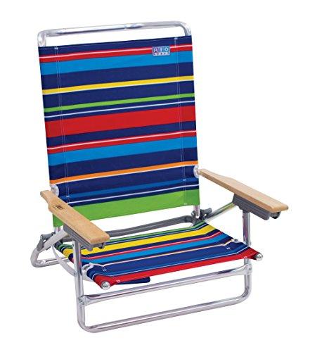 Rio Beach Classic 5 Position Lay Flat Folding Beach Chair, Pop Surf Multi Stripe