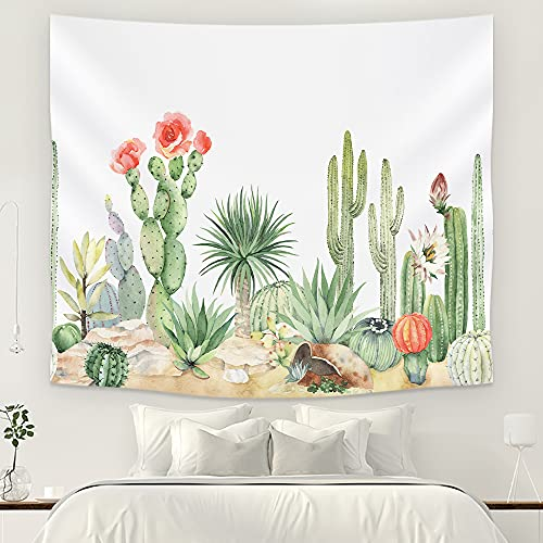 JOYPLUS Watercolor Cactus Tapestry Tropical Desert Landscape Plant Tapestry Bedroom Living Room Wall Decoration