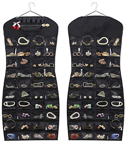JSXD Hanging Jewelry OrganizerDress-Like Double Side 84 Clear Pockets and 6 Hook Loops Storage for Holding Jewelries Black