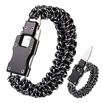 Paracord Knife Bracelet Survival Cord Knife Bracelets, Tactical EDC Paracord Bracelet, Emergency Survival Gear for Hiking Traveling Camping, Paracord Bracelet for Men (Black/Gray)