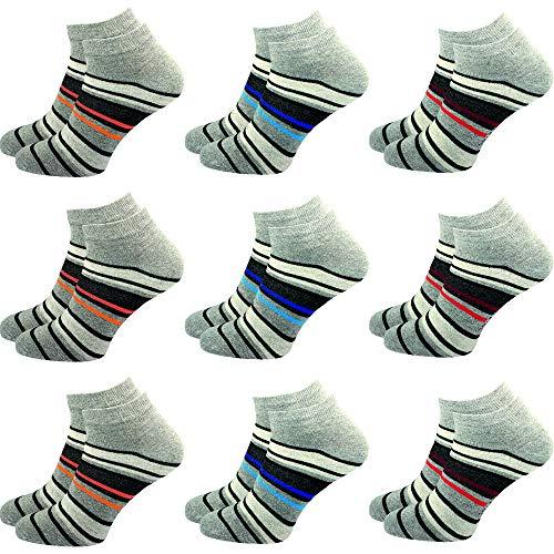 GAWILO 9 Paar Sneaker Socken | Damen und Herren | hoher Baumwollanteil | ohne drückende Naht (35-38, farbig 5)