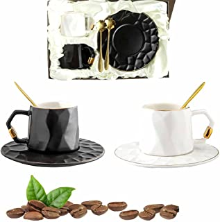 Watenkliy Lot de tasses à café avec soucoupes et cuillères - En porcelaine - 180 ml - Bords dorés - Pour café, café glacé,...