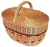 Wilpo Cesta da picnic 48x33x45 Cesta per acquisti Di salice Cesta per funghi Ceste per auto Canestri Cesta di salice