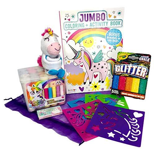 Unicorn Gift Bagged Activity set – Unicorn slap bracelet, 2 sets of jumbo Sidewalk Chalk, reusable Unicorn Stencils, unicorn Activity Book and Crayons