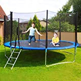 jujunshangmao ( U.S.in Stock) 12FT TUV Approved Kids Trampoline with Enclosure net, Spring Cover Padding Ladder Pole Safety Pad Jumping Mat Spring Pull T-Hook,Great Outdoor Backyard (Blue 12 FT)