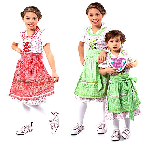 Alpentracht 3 TLG. Kinderdirndl (Kleid, Bluse, Schürze) / Traumhaftes Trachtenkleid mit Rosenmustern für Mädchen Gr. 104-152 in Rot/Grau oder Grün/Rosa 100% Baumwolle (10, Rot - Grau)