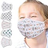 Jago® Mascherine Lavabili - per Bambini da 3-8 Anni, Confezione di 5 Pezzi con Stampa, OEKO-TEX Standard 100, 100% Cotone - Mascherine in Tessuto, Stampate, Maschera in Stoffa, Riutilizzabile