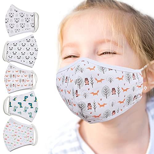 Jago® Kinder Stoffmaske - 5 Stück, Waschbar bis 60°, 3D Druck Tiermotiv, Atmungsaktiv, Baumwolle, für Jungen Mädchen, OEKO-TEX 100 - Mund-Nasenschutz, Community-Maske, Behelfsmaske, Alltagsmaske