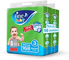 Fine Baby Diapers, DoubleLock Technology Size 3, Medium 4–9kg, Mega Pack, 2 packs of 84 diapers, 168 total count