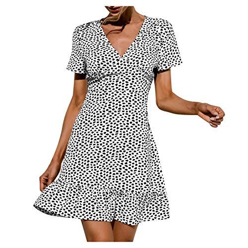 L9WEI Casual Retro A-Line Vestidos Boho V Cuello hasta la Rodilla Vestido de Fiesta Polka Dot Print Vestidos Sueltos de Playa