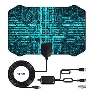 Antena de TV 2020 más Nueva 120 Millas de Tiempo de Funcionamiento Antena TNT en el Interior con Cable coaxial de 4 m de - VHF/UHF/FM Compatible con 4 K 1080p y Todos los televisores más Antiguos