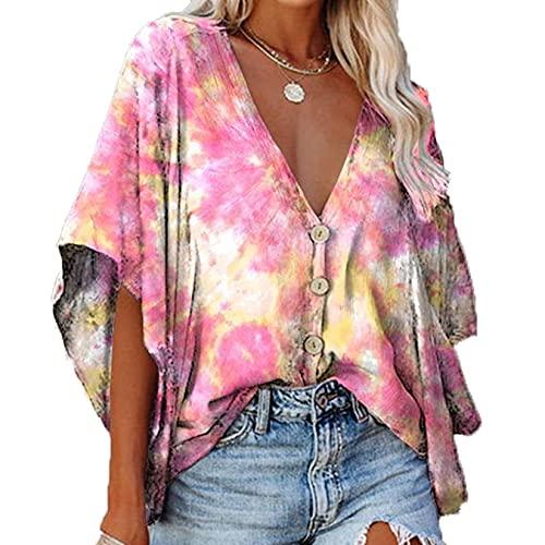 Camisa de señora Botón Cuello de ala Cómodo botón con Estampado de Flores Tops Antiarrugas Blusas de Negocios Elegantes Casuales
