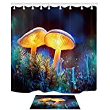 DcfxPcltcgi Nature Cortinas de Ducha Set by, Fantasy Mushroom Mystery Dark Forest Close-up Fungus Art Design, Cortinas de baño Alfombras de baño de Franela para Piso Interior