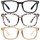 Blue Light Blocking Glasses-3Pack Computer Game Glasses Square Eyeglasses Frame, Blue Light Blocker Glasses for Women Men (Black+douhua+beige)