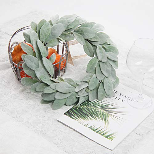 SHACOS Artificial Lambs Ear Wreath 13 inch Farmhouse Small Greenery Wreath Candle Wreath Home Wedding Decor