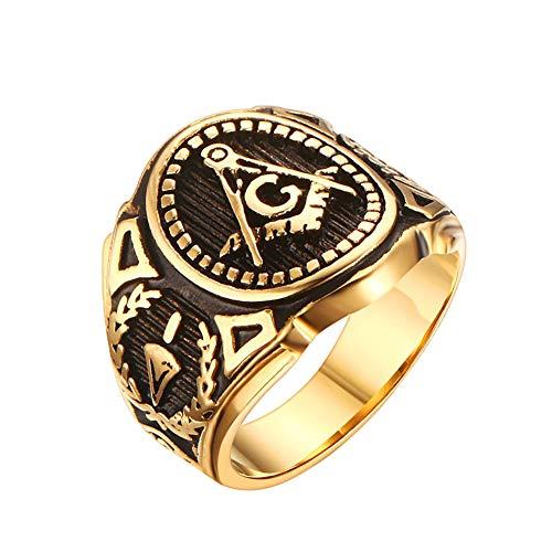 GuDeKe de los Hombres Acero Inoxidable Oro de la Vendimia Símbolo masónico Anillos masónicos para Hombre (24)