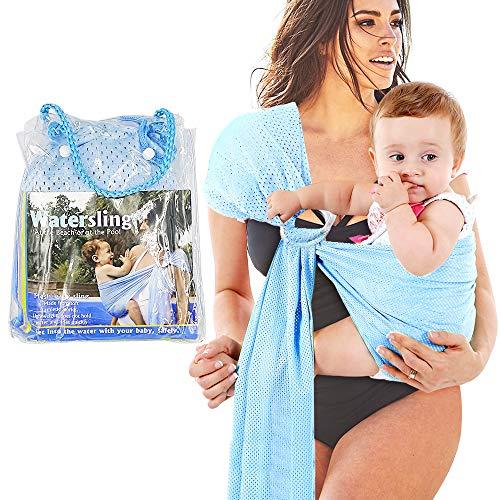 HINATAA Regulowana chusta na kółkach do wody dla niemowląt, oddychająca szybkoschnąca tkanina siatkowa idealna na lato, pływanie, basen, plażę (jasnoniebieska)
