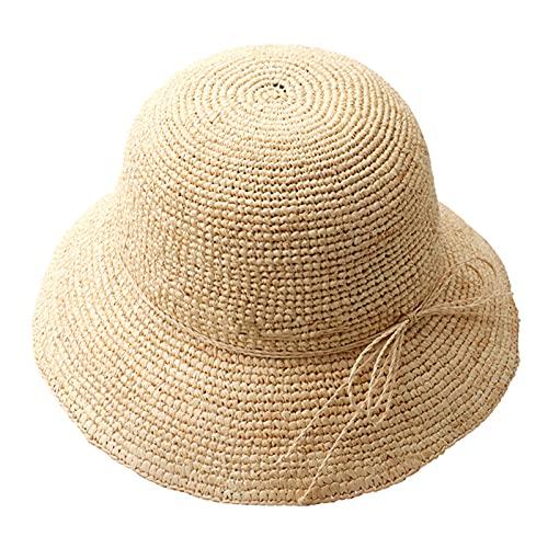 DJH Sombrero para el Sol para Mujer, Cola de Caballo Bowknot Floppy Protección UV Gorras para el Sol de ala Ancha Sombrero de Paja Redondo con Parte Super