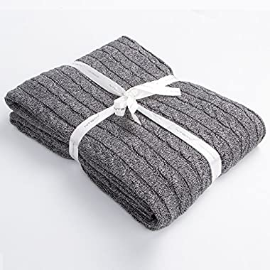 NTBAY 100% Cotton Cable Knit Throw Blanket Super Soft Warm Multi Color(51 x 67 , Grey and White)