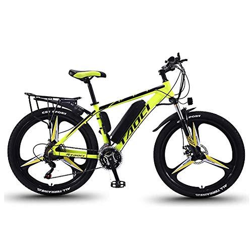 Hyuhome Biciclette elettriche per Adulto, in Lega di magnesio Ebikes Biciclette all Terrain, 26' 36V 350W 13Ah Rimovibile agli ioni di Litio Montagna-Bici per la Mens,Giallo,13Ah80Km