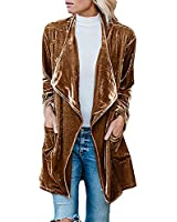 futurino Women's Solid Long Sleeve Velvet Jacket Open Front Cardigan Coat with Pockets Outerwear Brown