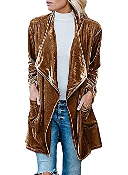 futurino Women s Solid Long Sleeve Velvet Jacket Open Front Cardigan Coat with Pockets Outerwear