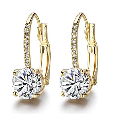 Hugitout Drop Dangle Earring for women, 14K Gold Plated Leverback Earrings with Cubic Zirconia Rhinestone Huggie Hoop Earings Fashion Jewelry for Girls