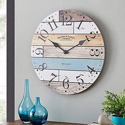 FirsTime & Co. Newton Woodgrain Farmhouse Clock, American Crafted, Multi-Color, 24 x 1.75 x 24, (31175)