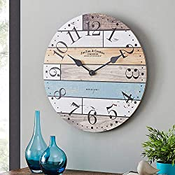 FirsTime & Co. Newton Woodgrain Farmhouse Clock, Multicolor/Blue (31175)