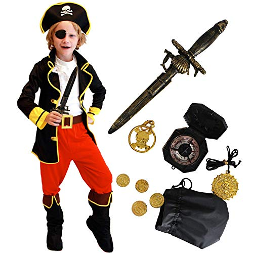 Tacobear Piratenkostüm Kinder mit Piraten Zubehöre Piraten Augenklappe Dolch Kompass Geldbeutel Ohrring Gold medasie Kinder Piraten Fancy Dress Kostüm Jungen (XL 10-12 Jahre)