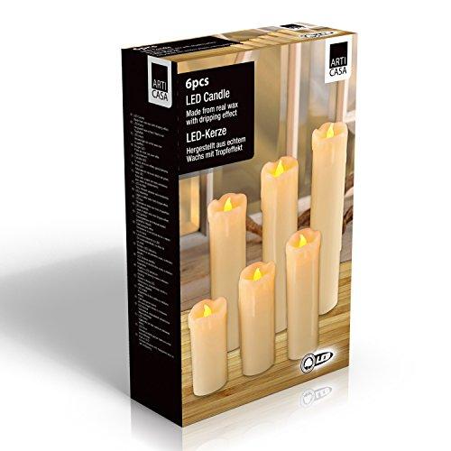 Décoration de Noël - 6 bougies à LED blanches