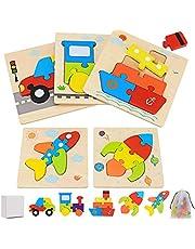 Houten legpuzzels voor peuters 1 2 3 4 jaar oud, 5 stuks Montessori speelgoed houten transport puzzel set educatief leren speelgoed en geschenken voor kinderen kinderen