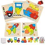 Puzzles de Madera de Vehículos Niños 2 3 4 5 Años, 5 Piezas Juguetes Bebes Montessori Puzzles Infantiles Educativos Rompecabezas Juegos Regalo Preescolar de Aprendizaje Temprano para Niñas y Niños
