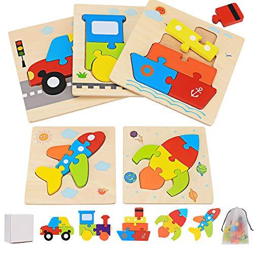 Puzzle in Legno Giocattoli Bambini per 2 3 4 5 Anni, 5 Pezzi Puzzle di Veicoli Set Montessori Giochi Bambino Educativi Gioco Blocchi di Modello Regalo per Ragazza Ragazzo