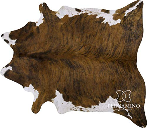 Brindle White Belly Brazilian Cowhide Area Rug, Cowskin Leather Hide for...