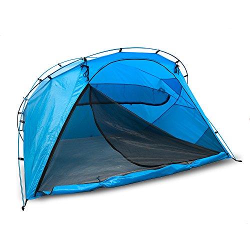outdoorer große Strandmuschel zum Verschließen Santorin Family - UV 80 Sonnenschutz-Zelt mit Moskitonetz und Belüftung, XXL Strandzelt, leicht, Alugestänge, kleines Packmaß für Reisen