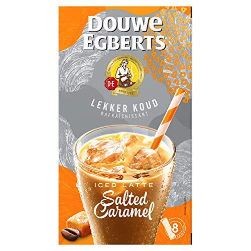 Douwe Egberts Oploskoffie Lekker Koud Iced Latte Salted Caramel, (32 Sachets, IJskoffie, Instant Koffie), 8 x 4 Zakjes