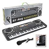 Klavier für Kinder, 61 Tasten Piano Keyboard,Elektronisches Klavier mit Mikrofon Multifunktions Musik Klaviertastatur für Kinder Geeignet