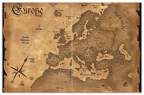 Wallario Herdabdeckplatte/Spritzschutz aus Glas, 2-teilig, 80x52cm, für Ceran- und Induktionsherde, Motiv Alte Weltkarte Karte von Europa in englisch